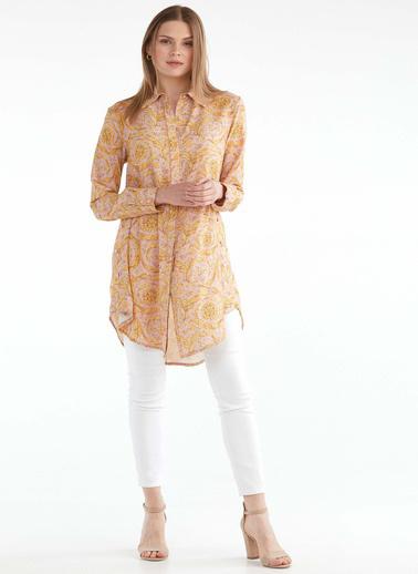 Sementa Kadın Rahat Kesim Desenli Uzun Gömlek  Pembe